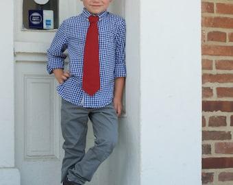 Marsala necktie, pre-tied necktie, boys tie, toddler tie, baby tie, wine necktie, boys marsala tie, red tie, ring bearer outfit, red necktie