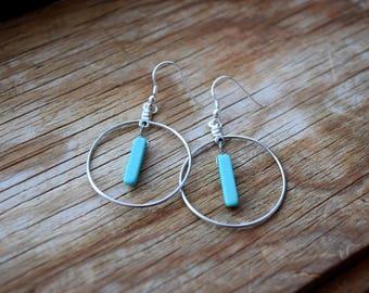 Turquoise Drop Hoop Earrings