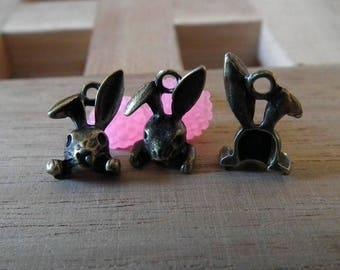 X 5 PCs antique bronze 15mm♥ Bunny charm ♥