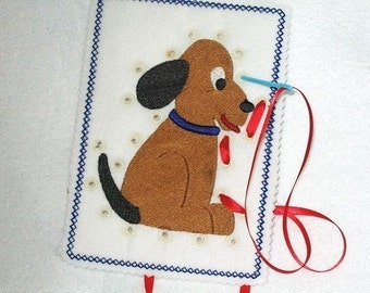 Easter Basket fun PUPPY SEWING CARD #3918