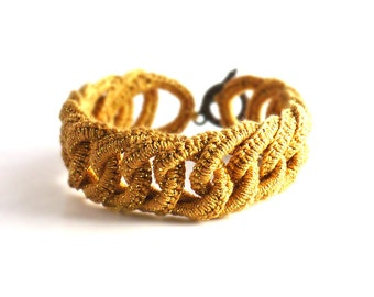 Irish Crochet Bracelet Fiber Bracelet  Golden Faux Chainmail