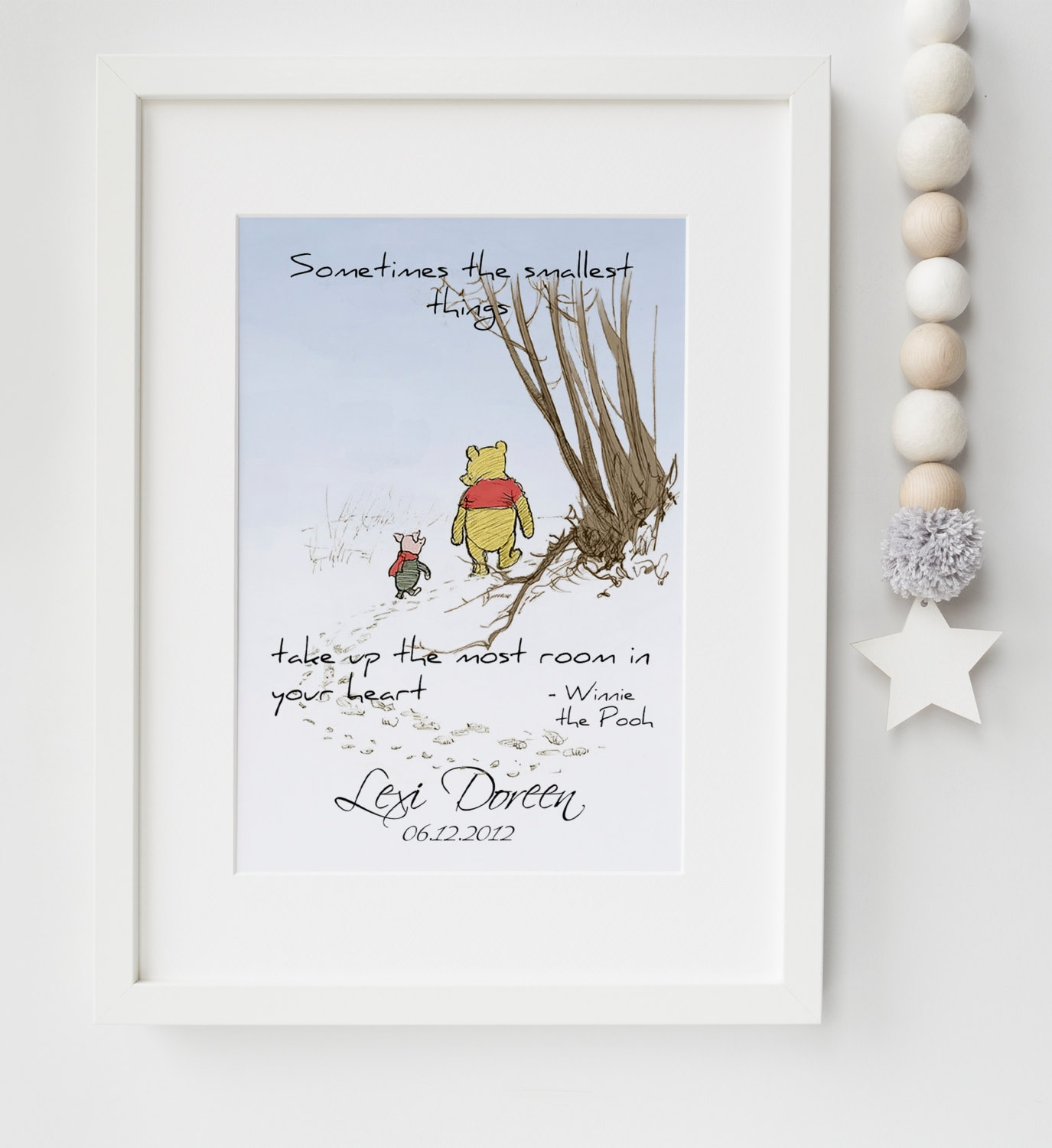Personalised new baby boygirl winnie the pooh quote birth name personalised new baby boygirl winnie the pooh quote birth name nursery print keepsake picture christening gift negle Images
