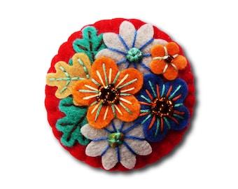 Japanese Art Inspired Handmade Mini Felt Brooch - Red