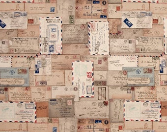 """Tim Holtz Eclectic Elements Letter Neutral Fabric 31 X 44"""" Remnant Correspondence Vintage Look Fabric"""