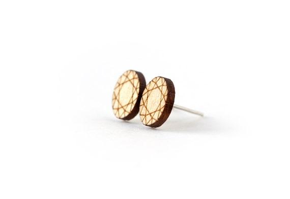 Oval diamond stud earrings - tiny post earrings - mini jewelry - graphic jewellery - lasercut wood - hypoallergenic surgical steel