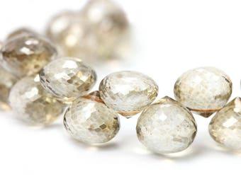 Quartz Faceted Onion Briolettes 1 Focal Champagne Mystic Semi Precious Gemstones