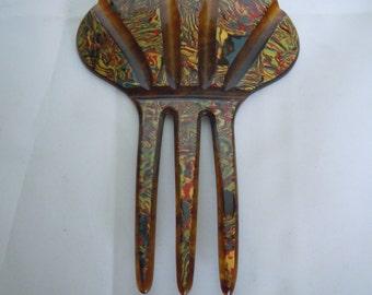 Vintage Celluloid Fan Hair Comb Paisley Design front