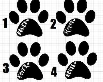 Custom Pet Name Paw Decal