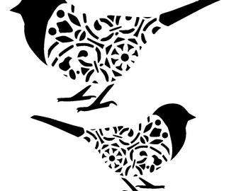 "6/6""  two vintage birds stencil."