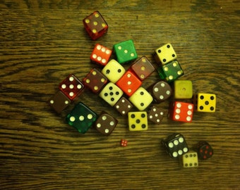 Assorted Colorful Vintage Dice