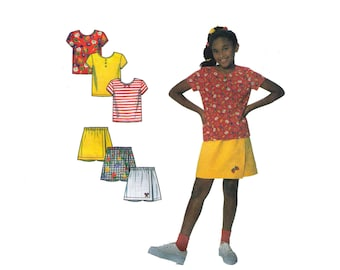Simplicity 7547, 90s sewing pattern, size 3-12 girl's shorts pattern, t shirt pattern, summer shorts