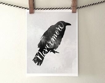 Halloween decor printable - Nevermore raven instant download,printable Halloween,Edgar Allen Poe 5x7, 8x10, 11x14 PDF and JPG
