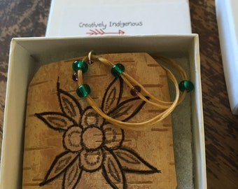 Birch bark with Woodburned Floral Design Necklace