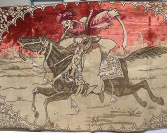 Vintage European Tapestry / Arabian Horse Tapestry / Hand Loomed Textile