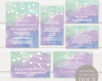 Watercolor Stringlights Wedding Invitation Template, Printable Wedding Invitations, DIY Wedding Invitation, Editable Text, TVW025 DOCX