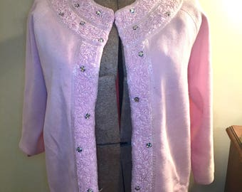 1960s pink beaded sweater