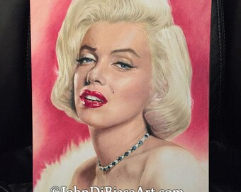 Original Colored Pencil Drawing of Marilyn Monroe (9 x 12) NOT A PRINT