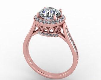rose gold  forever brilliant moissanite engagement ring, custom rings, 6.5mm moissanite center, style 18RGDM