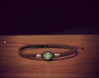 Plum with labradorite and sterling silver beads macrame bracelet