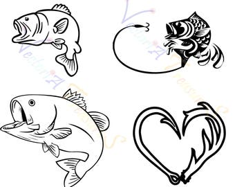 fish svg, fishing svg, fish png files for Cricut, fish Silhouette, antlers svg, antler fish svg, fish antler, heart shape antler fish svg