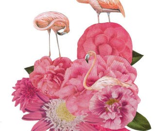 Blush Pink Flamingo Art, Pink Flower Artwork, Original Collage on Paper