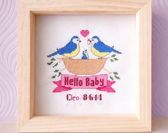 Baby Cross Stitch Pattern - Bird Cross Stitch Pattern - DIY Cross Stitch Pattern - New Parents Gift