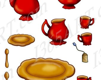 50% OFF Tea Time Red Tea Set Clipart, Scrapbooking, Party, Invitations, teapot, cups, gold plate, gold saucer, teabag, spoons PNG & JPEG, Co