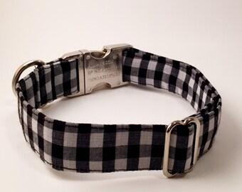 Black and White Plaid Adjustable Dog Collar
