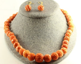 Natural Coral Necklace 20 ins with Matching Earring super looking J0102 Vintage Costume Jewelry