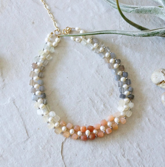Ombre moonstone beaded choker necklace - orange and grey - 14k gold filled