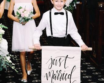 Wedding day decor, Hand lettered 'Just Married' banner, custom calligraphy on linen, ring bearer banner, monogrammed wedding sign
