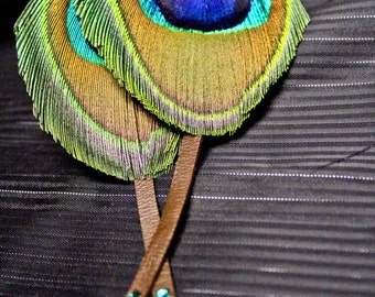 Leather Peacock Earrings Feather Aurora Borealis Swarovski  Natural Jewelry Bohemian Hippie Style Accessory Gold Green Handmade Gift For Her