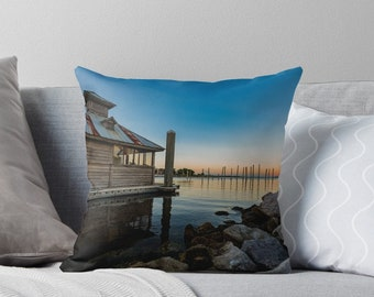 Throw Pillow Sham Cover Lake Cabin Nautical Rustic Earthy Scene couch decorative bedroom pillowcase indoor outdoor accent pillow zipper