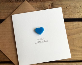 On Your Baptism Day with Blue detachable Heart magnet keepsake