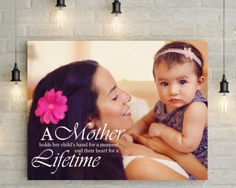 Custom Mother's Portrait With a Quote  - Personalized Photo Canvas Print or Printable Art, the choice is yours!