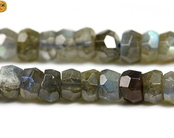 Labradorite, Faceted Rondelle Beads, Natural Faceted Rondelle, Black, Grade AA, One strand, 15inches, 4-5x6-8mm