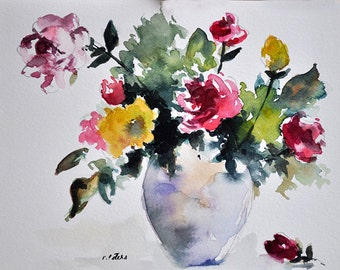 ORIGINAL Watercolor Painting, Still Life Floral Painting, Colorful Wild Flowers In a Vase 5.5x8 Inch