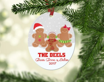 Personalized Family Ornament, Family Christmas Ornament,  Personalized Christmas Ornament, Custom Ornament, Gingerbread Family Ornament