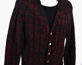 Vintage 50's Cardigan Sweater/Wool Mohair/Black/Red/Wool Cardigan/Wool Sweater/Boyfriend Sweater/Men's/Women's/V-Neck/Italy/1950's/Hipster