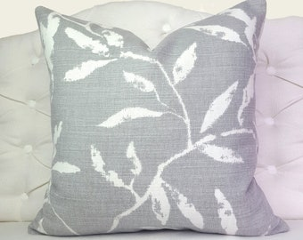 Grey and White Pillow Cover, Gray Designer Pillow, Romo Pillow Case, Leaf Pillow Cover, Gray and White Pillow