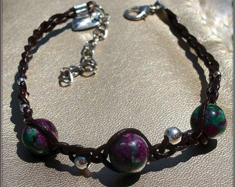 Bracelet dark brown leather with Ruby zoisite (gemstone)