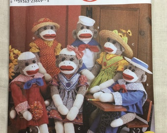 """Simplicity 9073, Sock Monkey Pattern, Monkey and Clothes, Rockford Red Heel, Size 22"""", Uncut Pattern"""