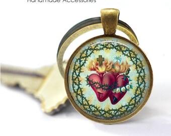 RELIGIOUS HEART Key Ring • Sacred Heart • Jesus the Saviour • Christian Heart • Catholic Heart • Gift Under 20 • Made in Australia (K437)