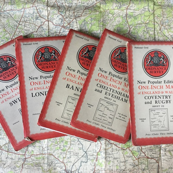 Vintage Ordnance Survey Maps of the British Isles, perfect for crafting or map collectors