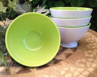 CLEARANCE Vintage Melamine Bowls, Green and White, Set of 4