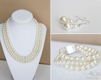 Wedding Jewelry Set, Swarovski Pearl Bridal Jewelry Set, Pearl Necklace Earrings Bracelet Set, Bridal Necklace set  art. e39-b10-n04