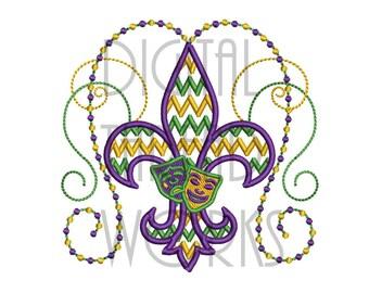 Mardi Gras Fleur De Lis Machine Embroidery Design in 4x4, 5x7, & 6x10 Inch Hoop Sizes. Instant Download Chevron Masks ITEM# MGFDLCM