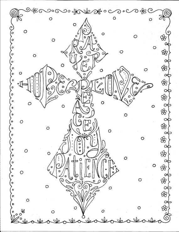 Instant Download Cross Scripture Coloring Page/digital/color