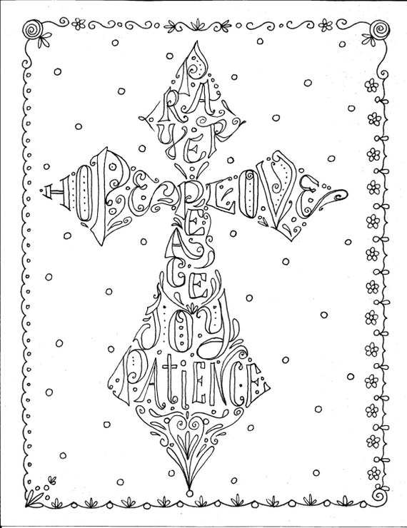 Instant download cross scripture coloring page digital color for Zentangle per bambini