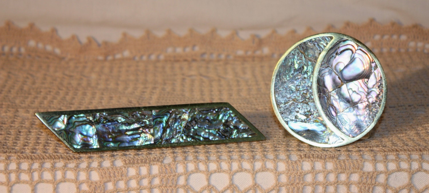 2 abalone and brass drawer pulls made in Mexico, 6.75\